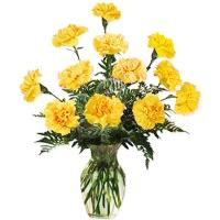 Shiny Yellow Carnation Vase Arrangement