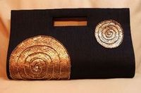 Black sequenced raw silk party purse or clutch