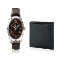 Men's leather watch with Orange Color Numerical Dial and Bla