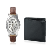 Men's Silver Dial leather watch with Brown Leather Strap wit