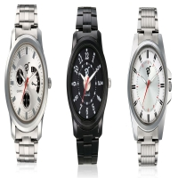 Mens 3 Stainless Steel Watches in Silver & Black Straps