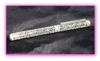 Silver filigree pen blue