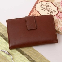 Flap Lock Deep Brown Wallet : Wallets for Her